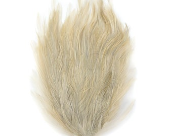 BEIGE 12 Dyed Hackle Pads - For Feather Crafts, Fascinators, Millinery, Fashion, Costume and Carnival Design ZUCKER®