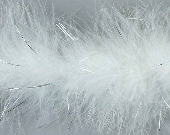 Marabou Feather Boas WHITE with Shiny Silver Lurex, 20 Grams 2 Yards, DIY Art Crafts Carnival Fashion Halloween Costume Decor ZUCKER®