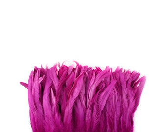 "VERY BERRY 8-10"" Bulk Bleach-Dyed Rooster Coque Tail Feathers Strung by the 1/4lb For Cultural Arts, Carnival & Costume Design ZUCKER®"