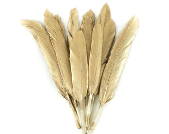 "4-6"" GOLD Gilded Goose Pointer Feathers 12 Pieces - For Arts & Crafts projects, DIY Dreamcatchers, Costume Design and more ZUCKER®"