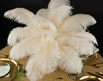 """Ostrich Feathers 13-16"""" IVORY - For Feather Centerpieces, Party Decor, Millinery, Carnival, Fashion & Costume ZUCKER®"""