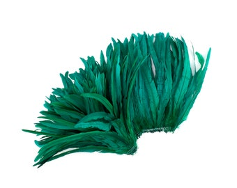 """Rooster Tail Feathers, KELLY 12-14"""" Strung Bleach Dyed Coque Tails, Wholesale Feathers Bulk ZUCKER®"""