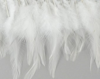 "1 Yard WHITE Dyed Saddle Feather Fringe approx 5-6"" - Fringe for Costume, Fashion & Millinery Design  ZUCKER®"
