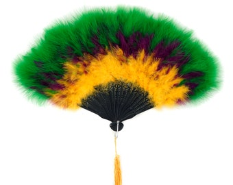 MARDI GRAS Marabou Feather Fans - Perfect for Photobooths, Great Gatsby, Roaring 20's Theme Costume Parties, Mardi Gras & Halloween ZUCKER®