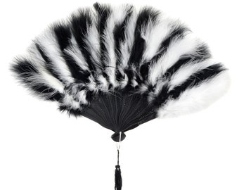 Black and White Marabou Feather Fans - Perfect for Wedding Photobooths, Great Gatsby, Roaring 20s Theme Costume Parties & Halloween ZUCKER®