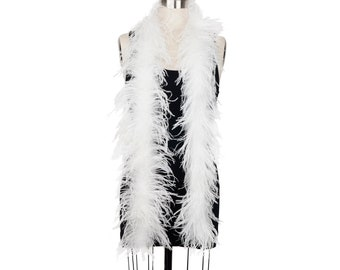 WHITE 2 Ply Ostrich Feather Boas -  Ostrich Feather Boa for Fashion, Costume Design and Special Events - 2 Yards (6 Feet) ea ZUCKER®