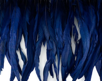 "12-14"" NAVY Dyed Coque Feather Fringe 1YD - For DIY Art Crafts, Carnival Costume, Cosplay, Millinery & Fashion Design Fringe ZUCKER®"