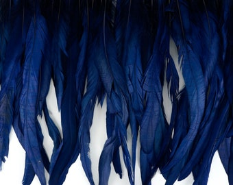 """12-14"""" NAVY Dyed Coque Feather Fringe 1YD - For DIY Art Crafts, Carnival Costume, Cosplay, Millinery & Fashion Design Fringe ZUCKER™"""