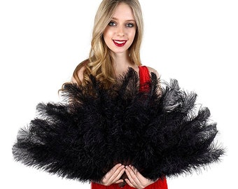 Black Ostrich Floss Feather Fan, Feather Fan For Burlesque Fan Dance, Showgirl Costume, Boudoir Photoshoots & Halloween Accessories ZUCKER®