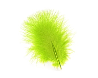 Turkey Feathers, Chartreuse Loose Turkey Marabou Feathers, Short and Soft Fluffy Down, Craft and Fly Fishing Supply Feathers ZUCKER®