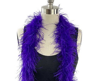 Ostrich Feather Boa, Regal Purple 2 Ply Value Ostrich Boa Halloween Costume, Dance and Fashion Design ZUCKER® Dyed & Sanitized in the USA
