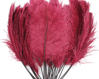 """Burgundy Ostrich Feather Tips, 15-18"""" Ostrich Tails 25 Pieces for Millinery & Floral Design, DIY Costume, Carnival, Mardi Gras ZUCKER®"""