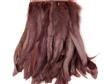MAUVE 1YD Metallic Dyed Iridescent Coque Tail Feather Fringe - For DIY, Carnival, Cosplay, Costume, Millinery & Fashion Design ZUCKER®