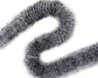 Black & White Stenciled X-Heavy Marabou Feather Boa, Luxurious Marabou Boa for Fashion, Costume Design, Home Decor, DIY Art Crafts ZUCKER®