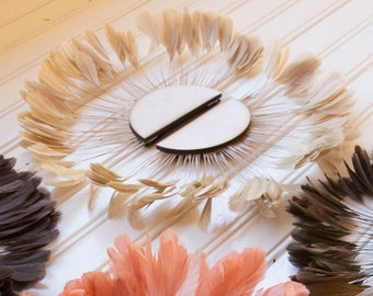 Unique Decorative Feather Wall Art, Small Half Moon Set Beige Feather Wall Art and Decor for Home and Office, Feather Wall Art  ZUCKER®