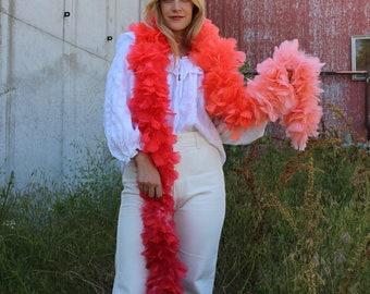 Coral Ombre Feather Boa - Costume Party Turkey Feather Boa, Carnival Costume Party and Showgirl Feather Boa ZUCKER®