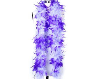 60 Gram Chandelle Feather Boa Tipped Lavender & White 2 Yards For Party Favors, Kids Craft, Dress Up, Dancing, Halloween, Costume ZUCKER®