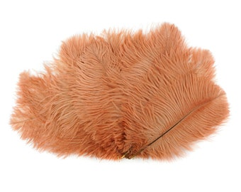 "Ostrich Feathers 9-12"" CINNAMON Peach, Ostrich Drabs, Centerpiece Floral Supplies, Carnival & Costume Feathers ZUCKER®Dyed and Sanitized USA"