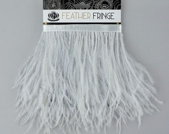 SILVER 1 YARD Ostrich Feather Fringe - For Bridal, Carnival Costume, Cosplay, Millinery, Fashion Design and Decor  ZUCKER®