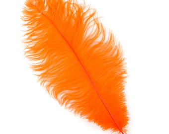 """ORANGE Bulk 13-16"""" Ostrich Feathers 1/4LB - For Feather Centerpieces,Party Decor,Millinery,Carnival,Fashion and Costume Design ZUCKER®"""