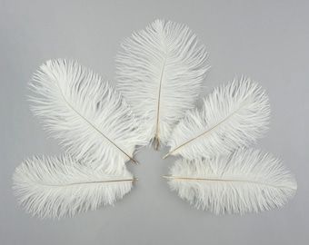 """Bulk Ostrich Feathers 4-8"""" WHITE, Mini Ostrich Drabs, Bouquets, Boutonnieres, Small Centerpieces ZUCKER® Dyed and Sanitized USA"""
