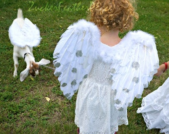 Glittering Angel Costume Wings - Adult or Child Feather Angel Wings with Silver Glitter Tips - ZUCKER® Feather Place Original Designs