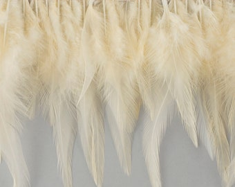 "1 Yard IVORY Dyed Saddle Feather Fringe approx 5-6"" - Fringe for Costume, Fashion & Millinery Design  ZUCKER®"