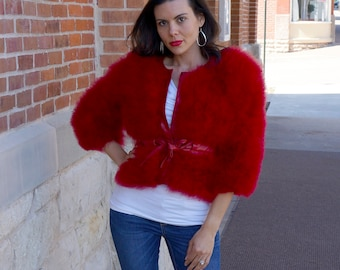 TANGO RED Marabou Feather Jacket w/cinch Belt Small/Medium - For Fashion Trends & Special Events ZUCKER® Original Designs