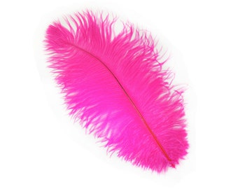 "12 SHOCKING PINK 13-16"" Ostrich Feathers Perfect for Medium Feather Centerpieces & Bouquets, Party Decor, Millinery, Costume Design ZUCKER®"