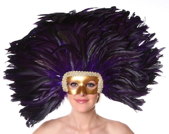 REGAL Feather Headdress with Gold Removable Masquerade Mask -  Cultural Dance, Carnival and Halloween Costume Feather Headdress ZUCKER®