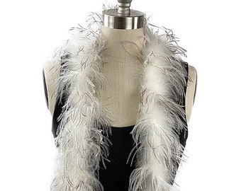 Ostrich Feather Boa, Natural 2 Ply Value Ostrich Boa Halloween Costume, Dance and Fashion Design ZUCKER® Dyed & Sanitized in the USA
