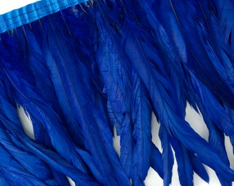 "10-12"" ROYAL Dyed Coque Feather Fringe 1YD - DIY Art Crafts, Carnival, Cosplay, Costume, Millinery & Fashion Design Feather Fringe ZUCKER®"