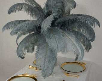 "Large Ostrich Feathers 6 Pieces 17-25"" Prime Ostrich Femina Wing Plumes, COLOR, Wedding Centerpieces, Carnival Feathers ZUCKER® USA"