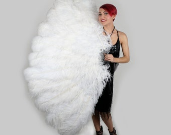 WHITE X-Large Prime Ostrich Feather Fan - For Stage & Theater, Burlesque Fan Dance, Showgirl Costume, Boudoir, Editorial Photoshoots ZUCKER®