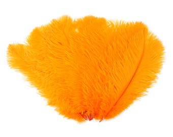 """Ostrich Feathers 13-16"""" MANGO orange - For Feather Centerpieces,Party Decor,Millinery,Carnival,Fashion and Costume Design ZUCKER®"""
