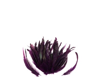 """PURPLE Dyed Rooster Feathers, 8-10"""" Barred Rooster Feathers,25pcs Rooster Coque Tails For Arts & Crafts,DIY,Millinery,Costume Design ZUCKER®"""