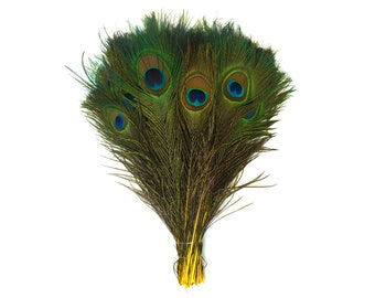 "YELLOW 100pcs Bulk 8-15"" Stem Dyed Peacock Tail Feathers - For Arts & Crafts, Floral Decor, Millinery and Jewelry Design ZUCKER®"