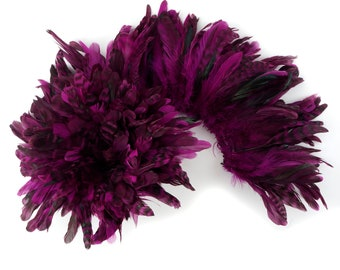 1YD BULK Strung BERRY Chinchilla Coque Tail Feathers 3-6 inches - For Fashion, Costume, Carnival & Cultural Arts Design ZUCKER®