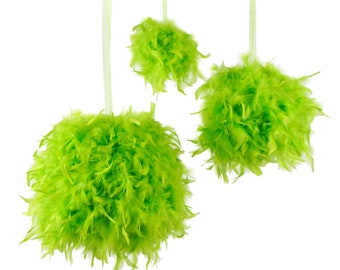 "Large LIME Decorative Chandelle Feather Pom Poms 18"" - Unique Event Decor For Birthday Parties, Bridal and Baby Showers  ZUCKER®"