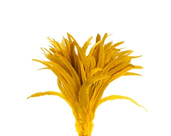 """GOLD 16-18"""" Bulk Bleach-Dyed Rooster Coque Tail Feathers Strung by the 1/4lb For Cultural Arts, Carnival & Costume Design ZUCKER®"""