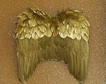 Gold Angel Wing Decor Ornament - Fall Thanksgiving Decor, Unique Holiday Decorative Feather Wings ZUCKER®