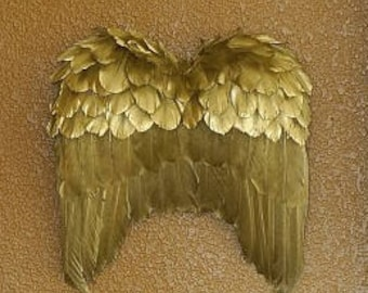 Gold Angel Wing Decor Ornament - Fall Thanksgiving Decor, Unique Holiday Decorative Feather Wings ZUCKER™