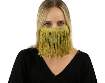 Fitted Fringe Mask, Metallic Gold Reusable Face Mask, Washable, Halloween Fringe Mask, Fashion Face Mask, Face Covering ZUCKER®