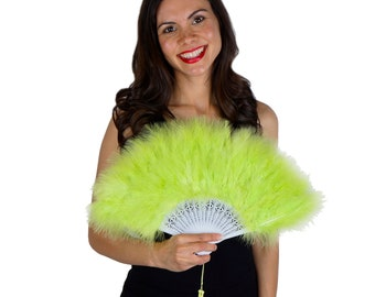 Lime Green Feather Fan, Small Marabou Feather Fan, Cheap Feather Fan For Photobooths, Costume Parties, Carnival & Halloween ZUCKER®