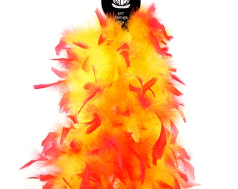 60 Gram Chandelle Feather Boa Tipped Hot Pink & Yellow 2 Yards For Party Favors, Kids Craft, Dress Up, Dancing, Halloween, Costume ZUCKER®