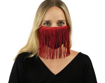 Fitted Fringe Mask, Metallic Red Reusable Face Mask, Washable, Halloween Fringe Mask, Fashion Face Mask, Face Covering ZUCKER®