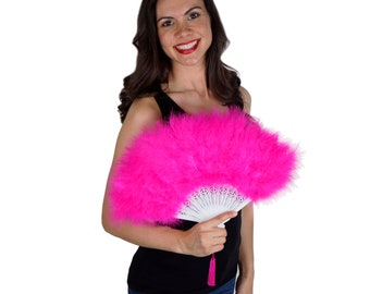 Shocking Pink Feather Fan, Small Marabou Feather Fan, Cheap Feather Fan For Photobooths, Costume Parties, Carnival & Halloween ZUCKER®