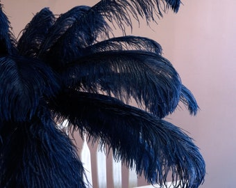 """Ostrich Feathers 17-20"""" NAVY, 1 to 25 pcs, Ostrich Plumes, Carnival Samba, Ostrich Drab, Mardi Gras, Centerpieces, Feather Fan, ZUCKER® USA"""