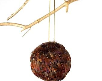 Decorative Feather Ornament - Natural Pheasant - Fall Thanksgiving Decor, Unique Holiday Decorative feather ornament ZUCKER®