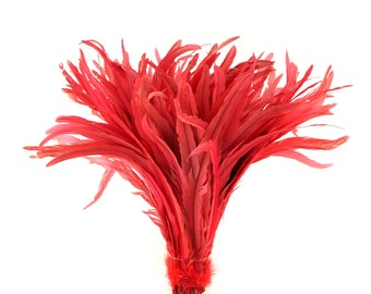 """Rooster Tail Feathers, CORAL 16-18"""" Strung Bleach Dyed Coque Tails, Wholesale Feathers Bulk ZUCKER®"""